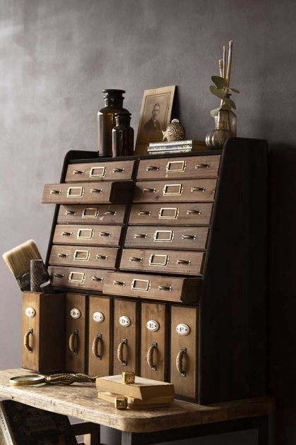 Lifestyle image of the Traditional Apothecary Cabinet Style Wooden Storage Wall Unit