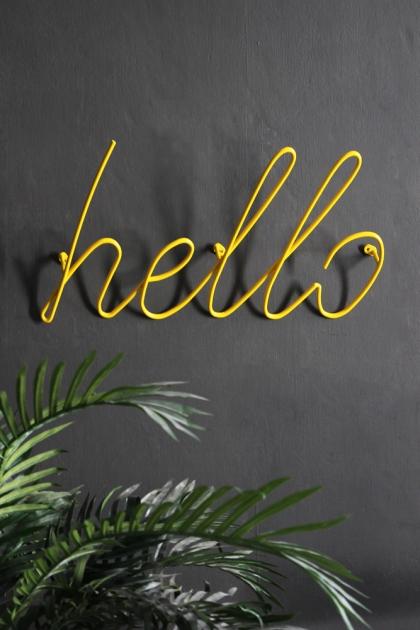 Hello Wall Art / Hanger - Yellow