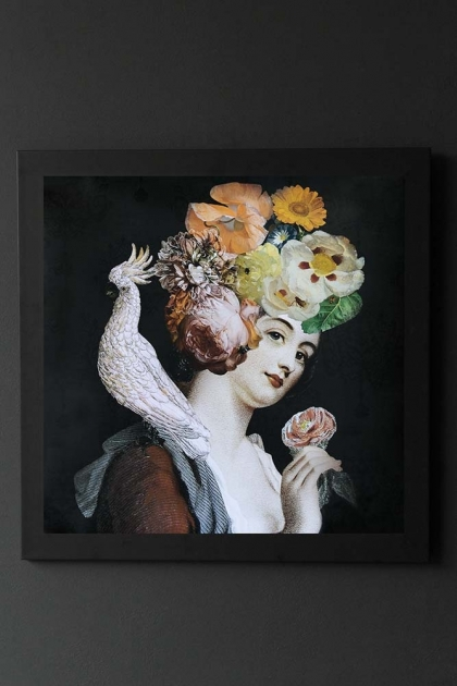 Quirky lady poster displayed in a frame on the wall