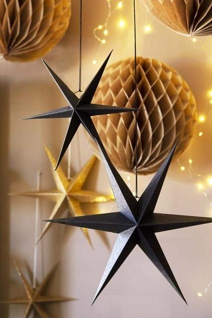 Set Of 2 Black Glitter Star Decorations