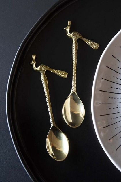 Set Of 2 Brass Peacock Spoons
