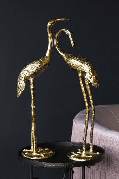 Set Of 2 Gold Stork Decorative Ornaments