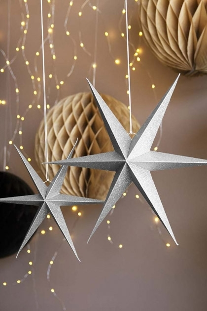 Set Of 2 Silver Glitter Star Decorations