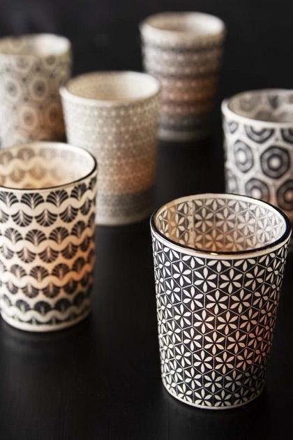 Set Of 6 Patterned Tea Light Holders