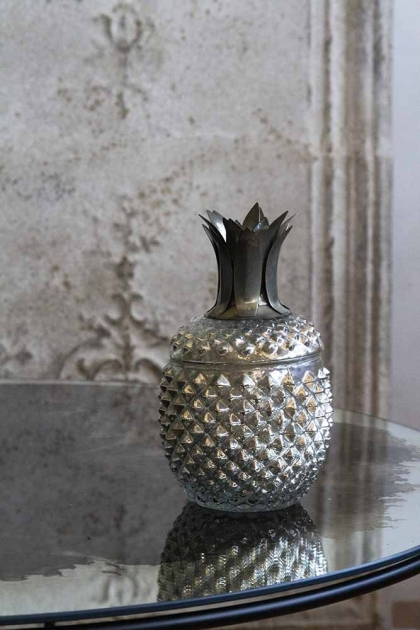 Lifestyle image of the Silver Glass Pineapple Trinket Storage Jar