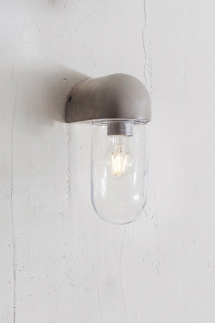 lifestyle image of Southbank Outdoor Concrete Wall Light on white wall background