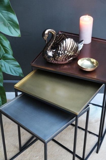Lifestyle image of the Set Of 3 Square Tray Enamel Nest Of Tables