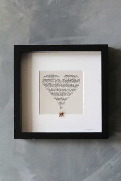 lifestyle image of Terms Of Endearment Art Work By Brigitte Herrod in black square frame on grey wall background