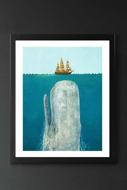 lifestyle image of The Whale Unframed Fine Art Print blue whale in sea looking up at ship in black frame on dark wall background