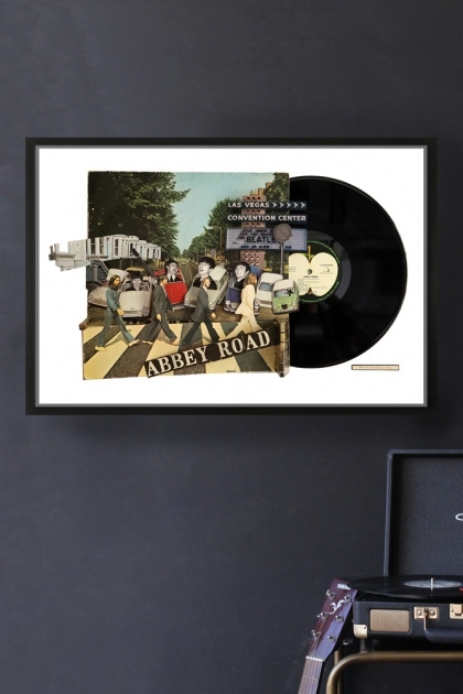 lifestyle image of Unframed Abbey Road Record Cover Collage By Alison Stockmarr in black frame on dark grey wall with record player in background