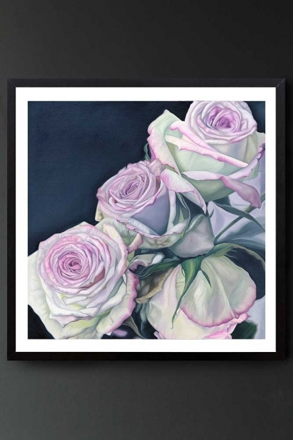 "Lifestyle image of the Unframed Art Print by Amy Carter ""In The Dark"" pink roses with navy background on dark grey wall background"