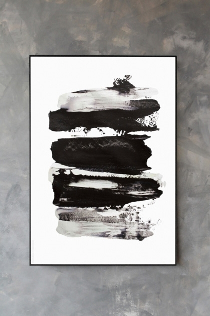 lifestyle image of Unframed Flash Art Print horizontal thick black paint marks on white background in black frame on distressed grey wall background