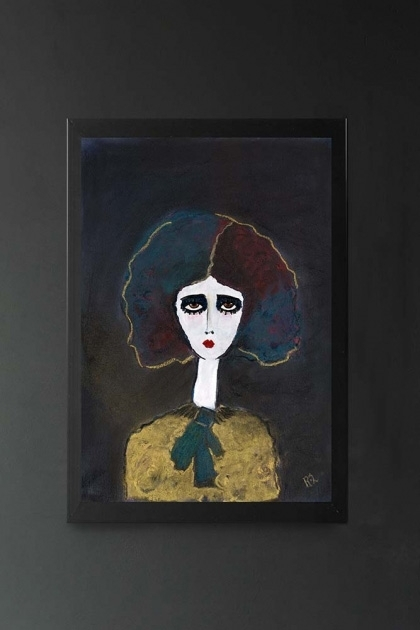 lifestyle image of Unframed Grace Art Print By Rebecca Sophie Leigh white girl with blue purple hair, yellow jumper with blue scarf and dark background hanging on dark grey wall background