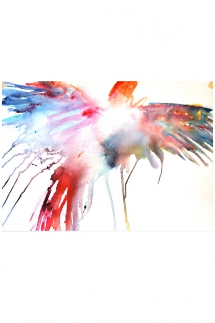 cutout image of Unframed Soaring Parrot Art Print By Emma Kaufmann - 2 Sizes Available watercolour multicoloured parrot on white background