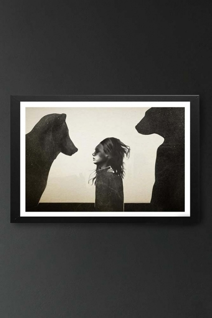 lifestyle image of Unframed Unusual Encounter Fine Art Print young girl with two bears in black frame on dark wall background