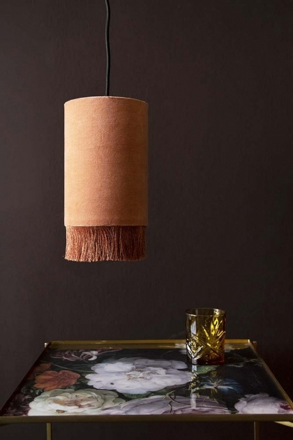 Velvet Pendant Ceiling Light With Fringe - Dusky Rose