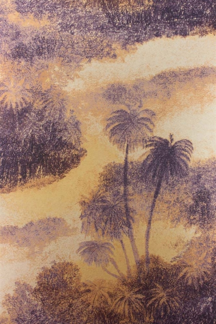 cutout Image of Matthew Williamson Cocos Wallpaper - Sunset orange and yellow sunset with purple palm trees