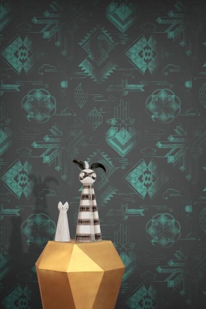 Feathr Watercolour Gems Wallpaper - Patina