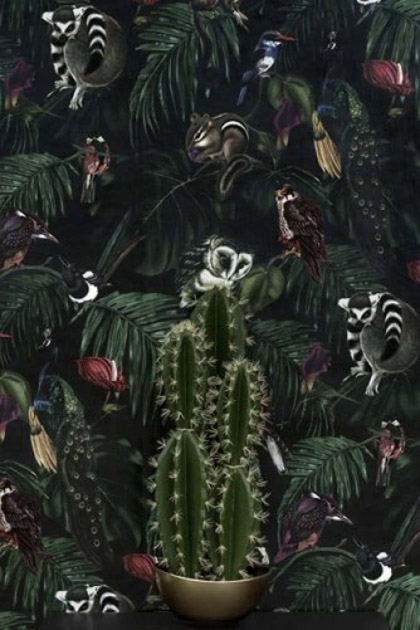 lifestyle image of Witch & Watchman Amazonia Wallpaper - Dark with cactus in front