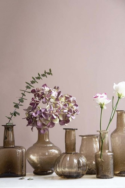 Rockett St George & Assortment of 6 Recycled Glass Vases in Various Designs - Smoke