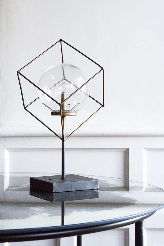 Led Cubic Frame Battery Operated Table Lamp