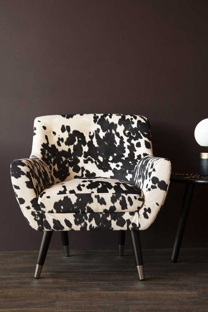 Faux Cowhide Vintage Style Armchair