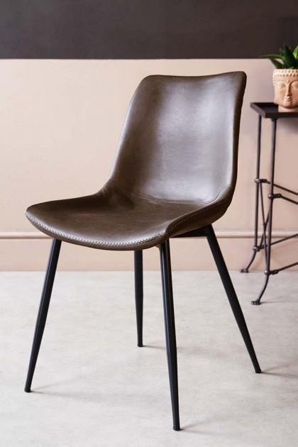 Amazing Faux Leather Dining Chair With Zig Zag Stitching Brown Ibusinesslaw Wood Chair Design Ideas Ibusinesslaworg