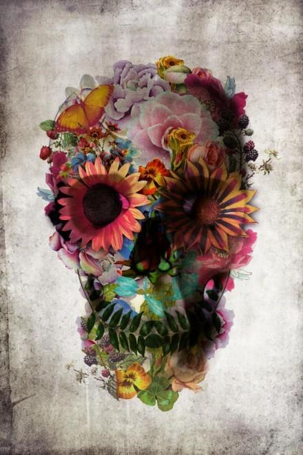 unframed flower skull fine art print from rockett st george rockett