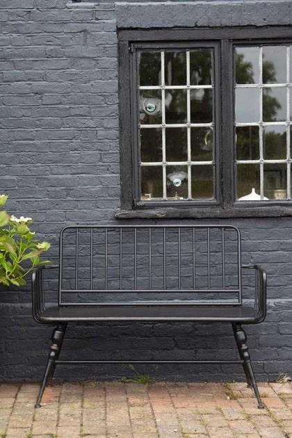 Brilliant Industrial Style Black Metal Two Seater Bench Creativecarmelina Interior Chair Design Creativecarmelinacom
