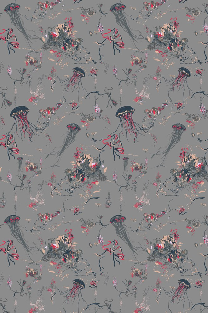 17 Patterns Jellyfish Wallpaper Grey Roll In Stock