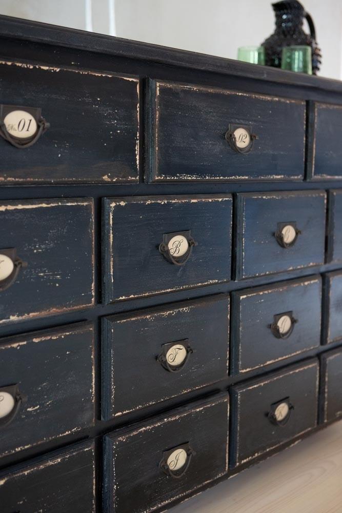 Antique Style Black Multi Drawer Storage Cabinet Rockett