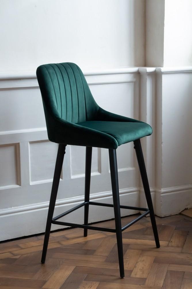 Pleasing Casino Velvet Bar Stool Rich Green Theyellowbook Wood Chair Design Ideas Theyellowbookinfo
