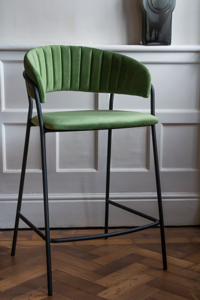 Superb Curved Back Velvet Bar Stool In Moss Green Pabps2019 Chair Design Images Pabps2019Com