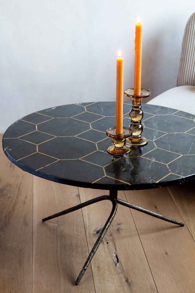 Slate Grey Marble Brass Honeycomb Design Coffee Table Rockett
