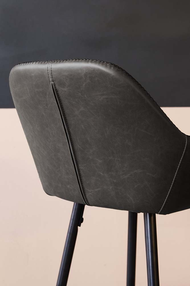 Faux Leather Bar Chair With Zig Zag Stitching Charcoal