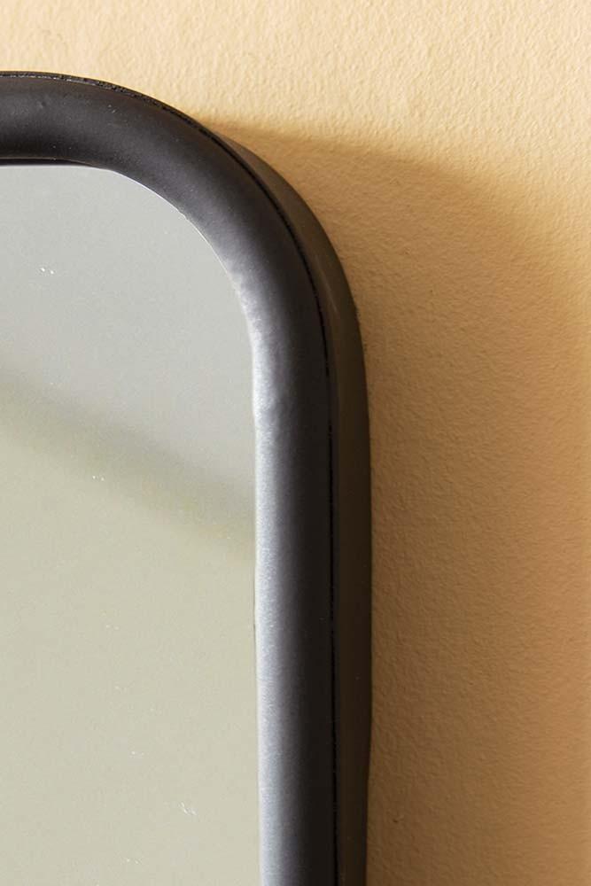 Black Almost Square Bathroom Mirror With Shelf Rockett