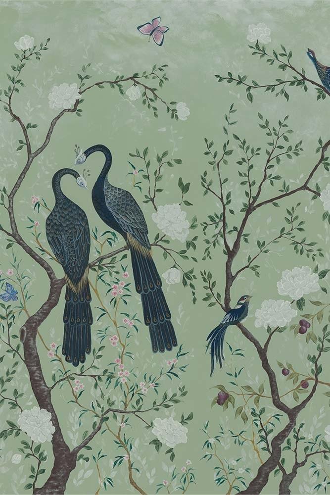 Edo Mural Design Wallpaper Panel Mint Green