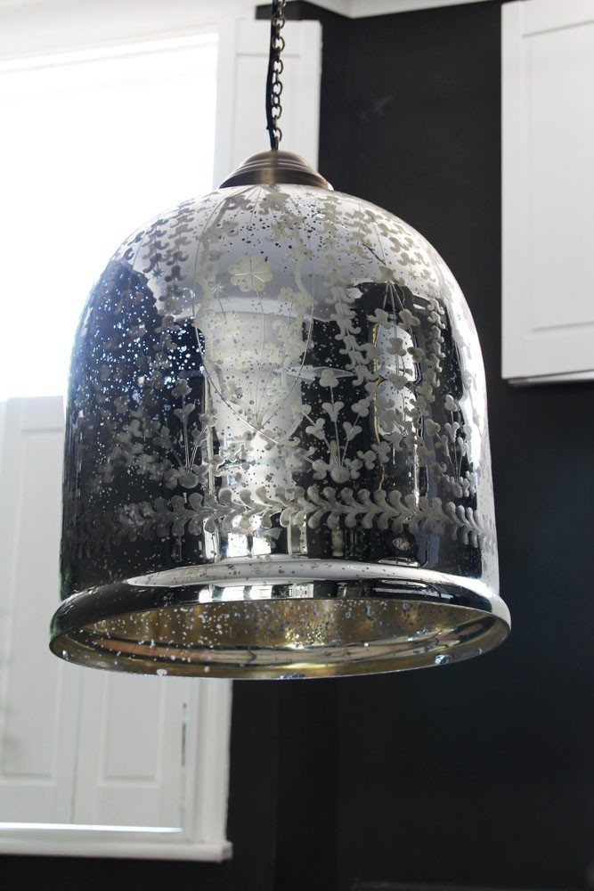 Etched Glass Large Bell Pendant Ceiling Light From Rockett