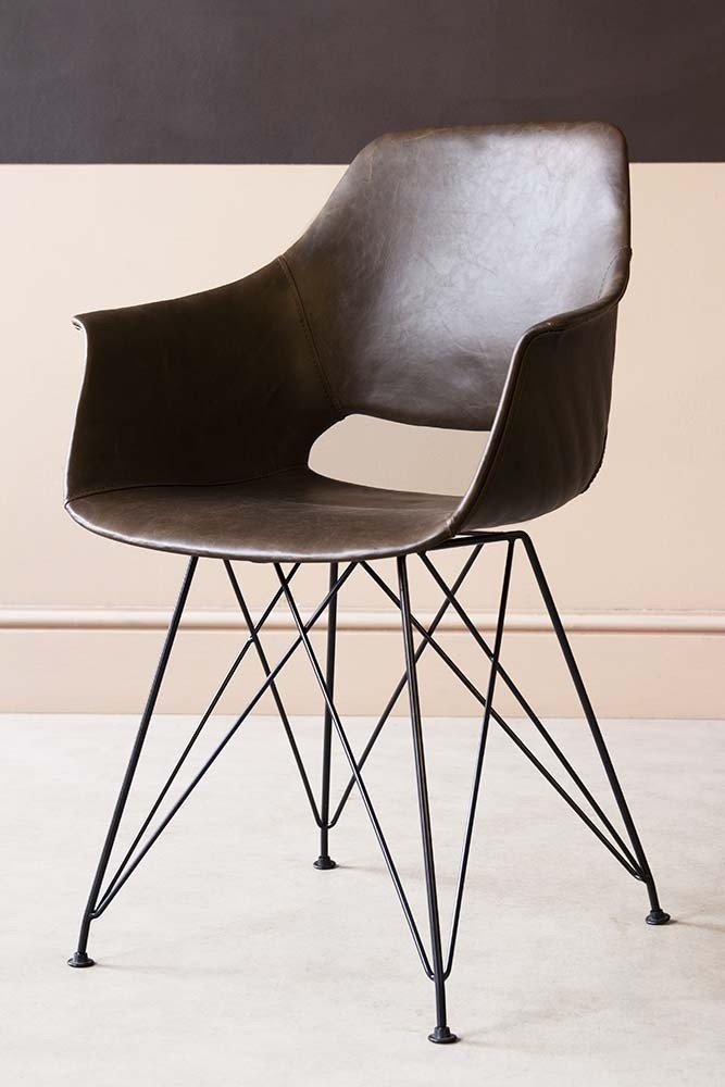 Faux Leather Dining Chair With Black Hairpin Legs - Brown ...