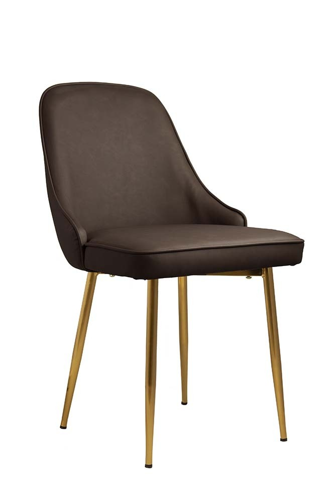 faux leather dining chair with brass legs brown from rockett st george. Black Bedroom Furniture Sets. Home Design Ideas