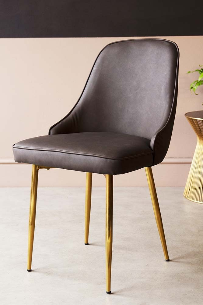 Faux Leather Dining Chair With Brass Legs - Brown ...