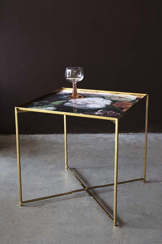 Floral Bouquet Side Table With Gold Legs From Rockett St