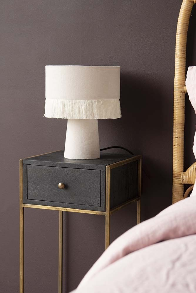 Wood And Metal Bedside Table: Black Wood And Brass Leg Bedside Table