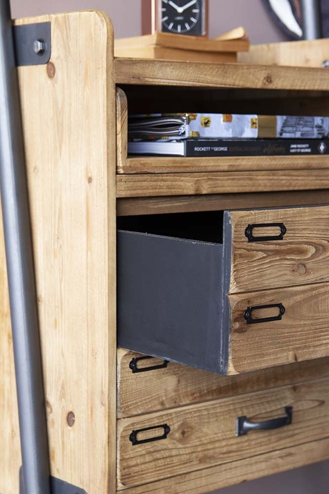 san francisco 4c41a 4b15e Industrial-Style Ladder Shelf Unit With 2 Drawers