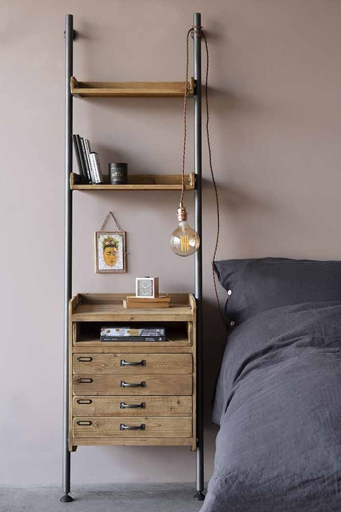 industrial style ladder shelf unit with 2 drawers rockett st george. Black Bedroom Furniture Sets. Home Design Ideas