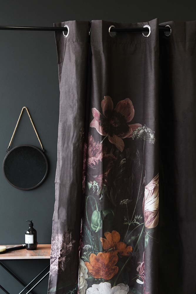 Black Floral Shower Curtain Tap To Expand