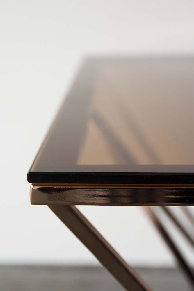 Smoked Glass Amp Rose Gold Pyramid Coffee Table Rockett St