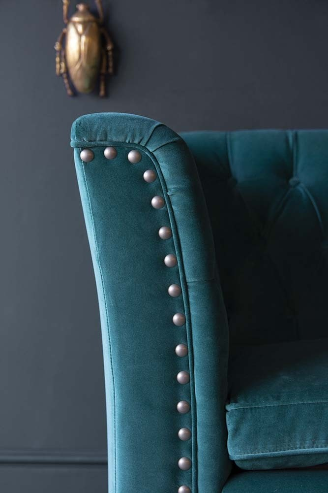 Astonishing Teal Velvet Chesterfield 3 Seater Sofa With Stud Detail Alphanode Cool Chair Designs And Ideas Alphanodeonline