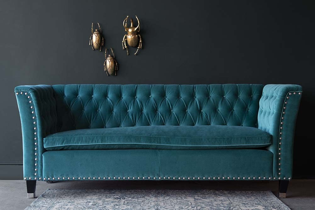 Teal Velvet Chesterfield Sofa With Stud Detail Rockett
