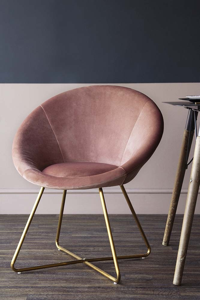 The Grand Velvet Circular Dining Chair Rose Pink